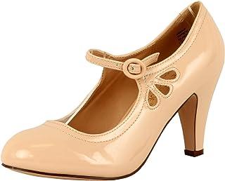 6e17d3de99 Chase & Chloe Kimmy-21 Women's Round Toe Mid Heel Mary Jane Dress Shoes (