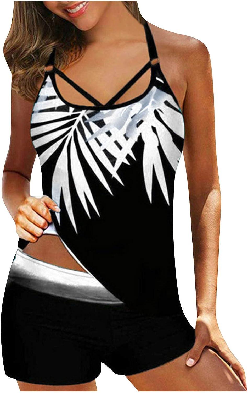 FEIZ Swimsuits Bikini Womens Blouse Vintage Printed Strappy Tankini Top Swimwear with Shorts