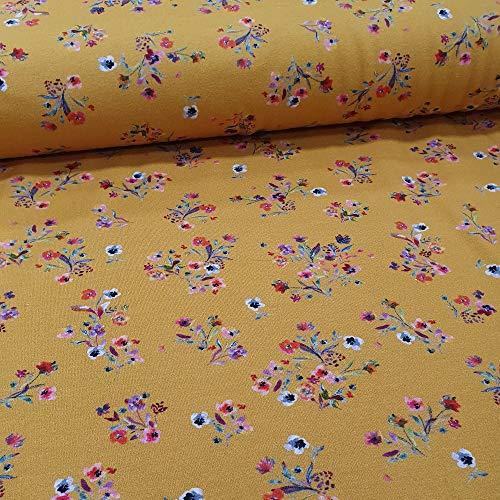 Schickliesel Jersey Stoff Meterware Stiefmütterchen gelb