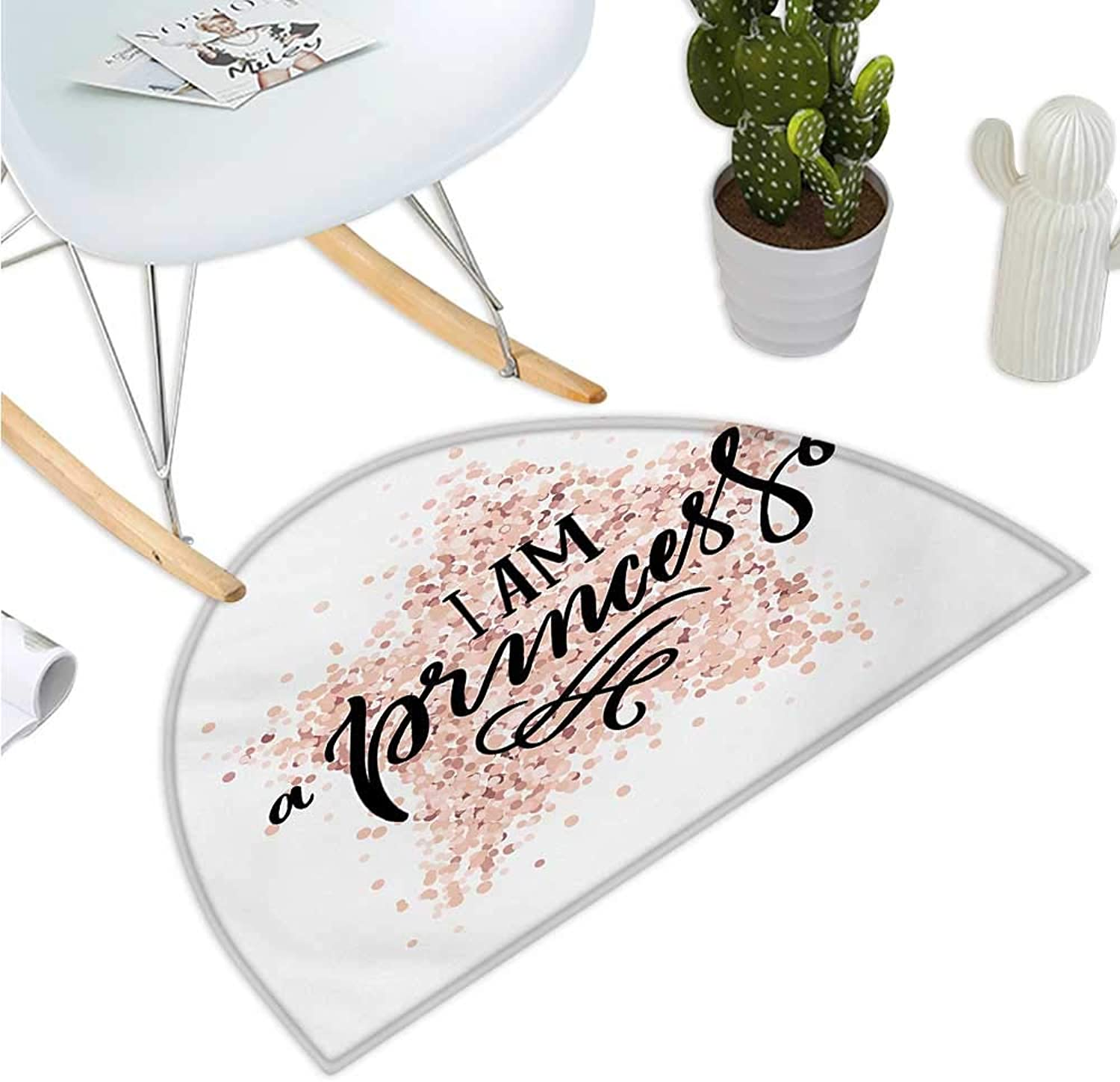 I am a Princess Semicircle Doormat Modern Calligraphic Quote on Dotted Background Hand Lettering Entry Door Mat H 51.1  xD 76.7  Black White and bluesh