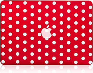 """TOP CASE - Polka Dot Design Rubberized Hard Case Compatible Older Generation MacBook Air 13"""" A1369 and A1466 (Release 2010-2017) - Red"""