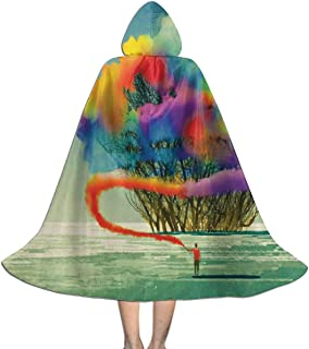 QBahoe Kids Cape Cloak with Hood Psychedelic Tree with Colorful Smoke Flare Unisex Magic Christmas Halloween Witch Party Hooded Vampires Wedding Cape Cloak