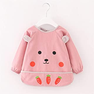 0-3 Years Old Baby Bib Cotton Girl Waterproof Dinner Clothing Boy Bib Anti-wear Long Sleeve Bib Unisex Baby Bibs (Color : ...