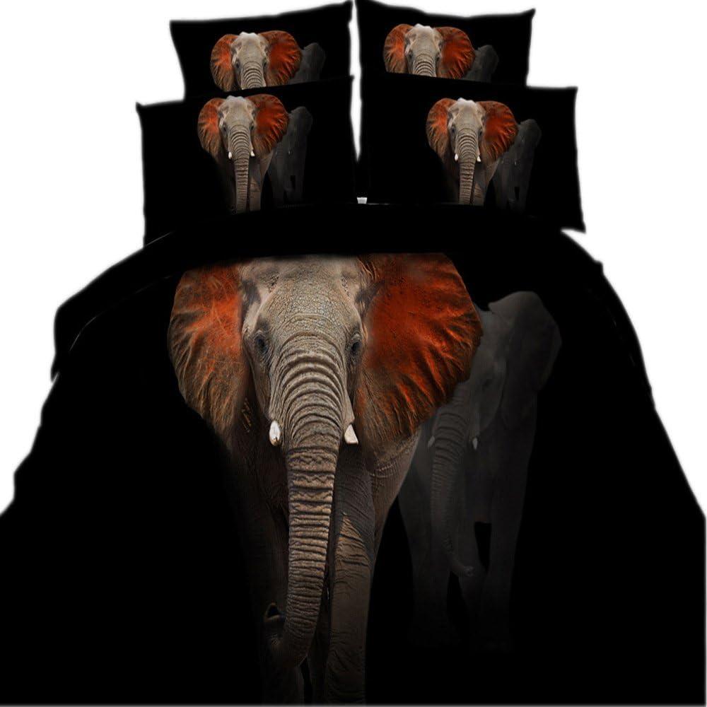 Max 47% OFF HyUkoa 100% Cotton 3D Elephant Print Duvet Cov Bedding discount Set Black
