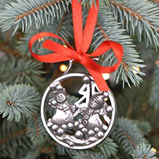 English Pewter Company 'Snowman & Snowballs' Luxury Pewter Christmas Tree Decoration Pendant Baubles Ornament [CHR005]