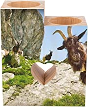 Romantic Wooden Heart Shaped Couple Candle Holders, Animals Goat Mountains Greens Candle Holder Heart Pedestal for Valenti...