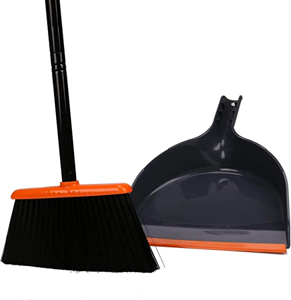 TreeLen Angle Broom And Dustpan Dust Pan Snaps On Broom Handles Orange