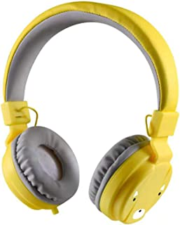 Semoic Children Headphone Foldable Earphone Headset Wire Control Wired Phone Boy Girl Headset with Microphone Kid Headset(Yellow)