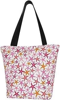 Lesif Einkaufstaschen, Seestern, orange-rosa, Segeltuch, Schultertasche, Einkaufstasche, wiederverwendbar, faltbar, Reisetasche, groß und langlebig, robuste Einkaufstaschen