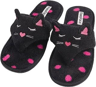 6f9eefebc7c Women s Velvet Thong Spa Slipper Soft Cat Decor Open Toe Flip Flop Winter  Warm Flat Footwear