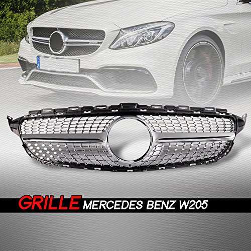 Front Diamond Style Grille Grill Trim Shell Compatible for Mercedes Benz W205 C Class C250 C300 C400 C450 AMG Sport 2015 2016 2017 2018 Without Camera