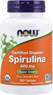 NOW Supplements, Organic Spirulina 500 mg with Vitamins, Minerals and GLA (Gamma-Linolenic Acid), 180 Tablets