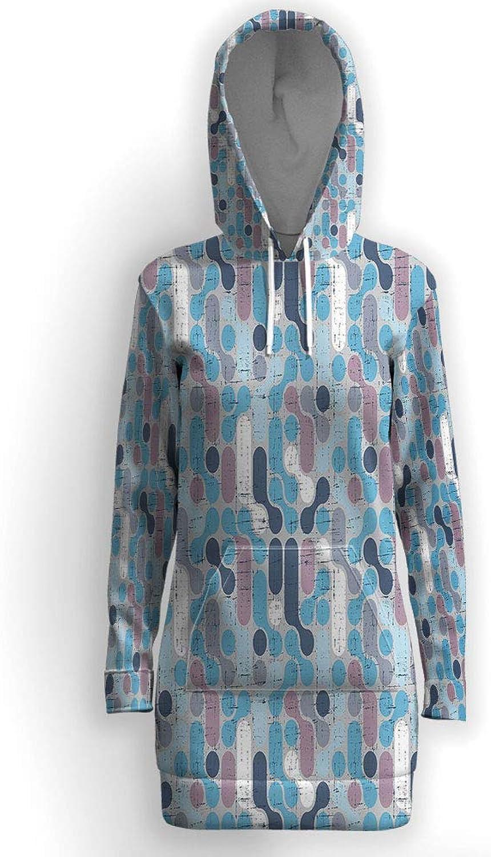 IPrint Abstract,Pockets Tunic Sweatshirt Long Hoodie