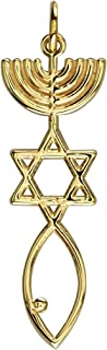 Messianic Seal Jewelry Charm in 14K Yellow Gold