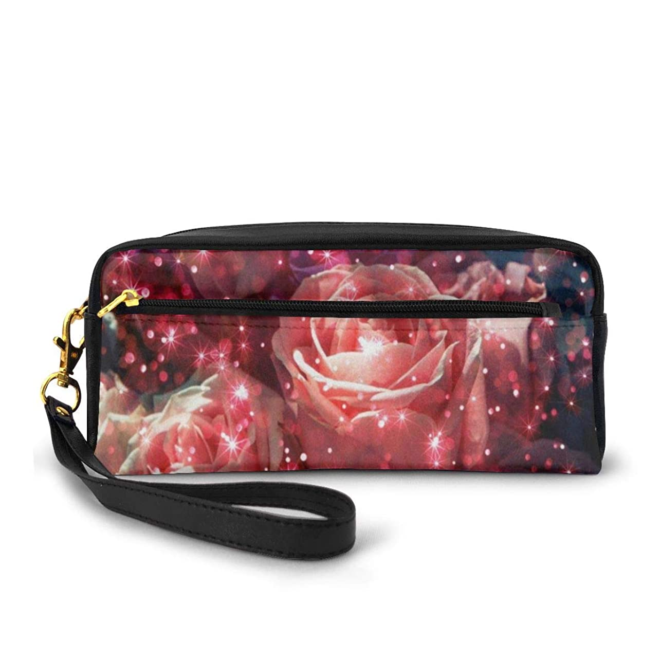 逆争う熟読バラの花のキラキラ 化粧品収納バッグ ウォッシュバッグ ハンドバッグ 化粧品袋 耐久性のある 筆箱 トラベルバッグ カラフルなス ポータブル スキンケア製品収納袋