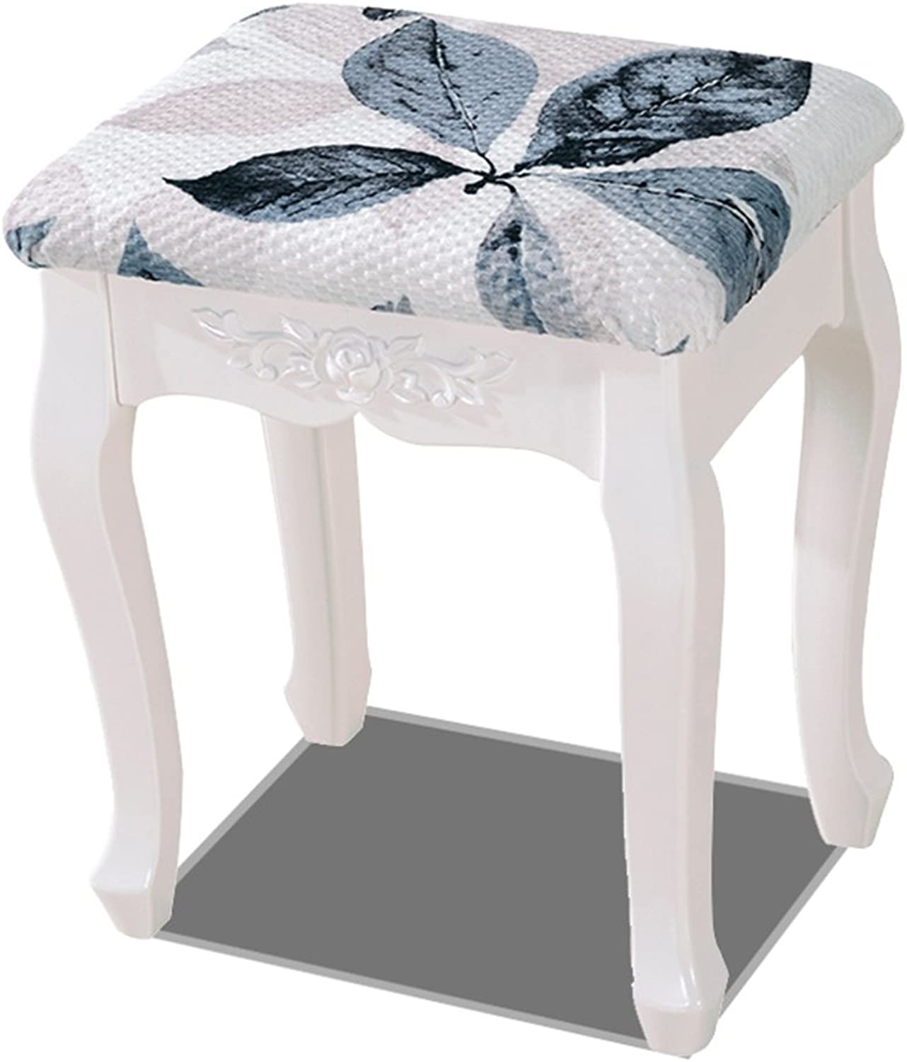 MAZHONG Barstools White Dresser Stool Padded Cushion Retro Piano Chair Plus Pad Makeup Seat (White Curved) (color   A)