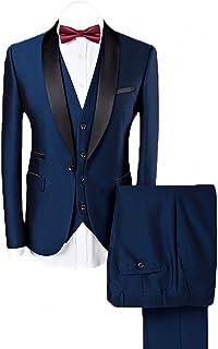 WEEN CHARM Men's Shawl Lapel 3-Pieces Suit Slim Fit One Button Dress Suit Blazer Jacket Pants Tux Vest