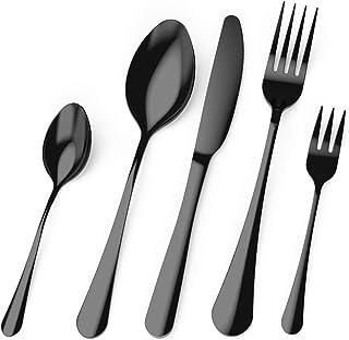 Cedilis Black Silverware Set, 40 Piece Stainless Steel Flatware Cutlery Set, Mirror Finish Kitchen Utensil Set for Home Re...