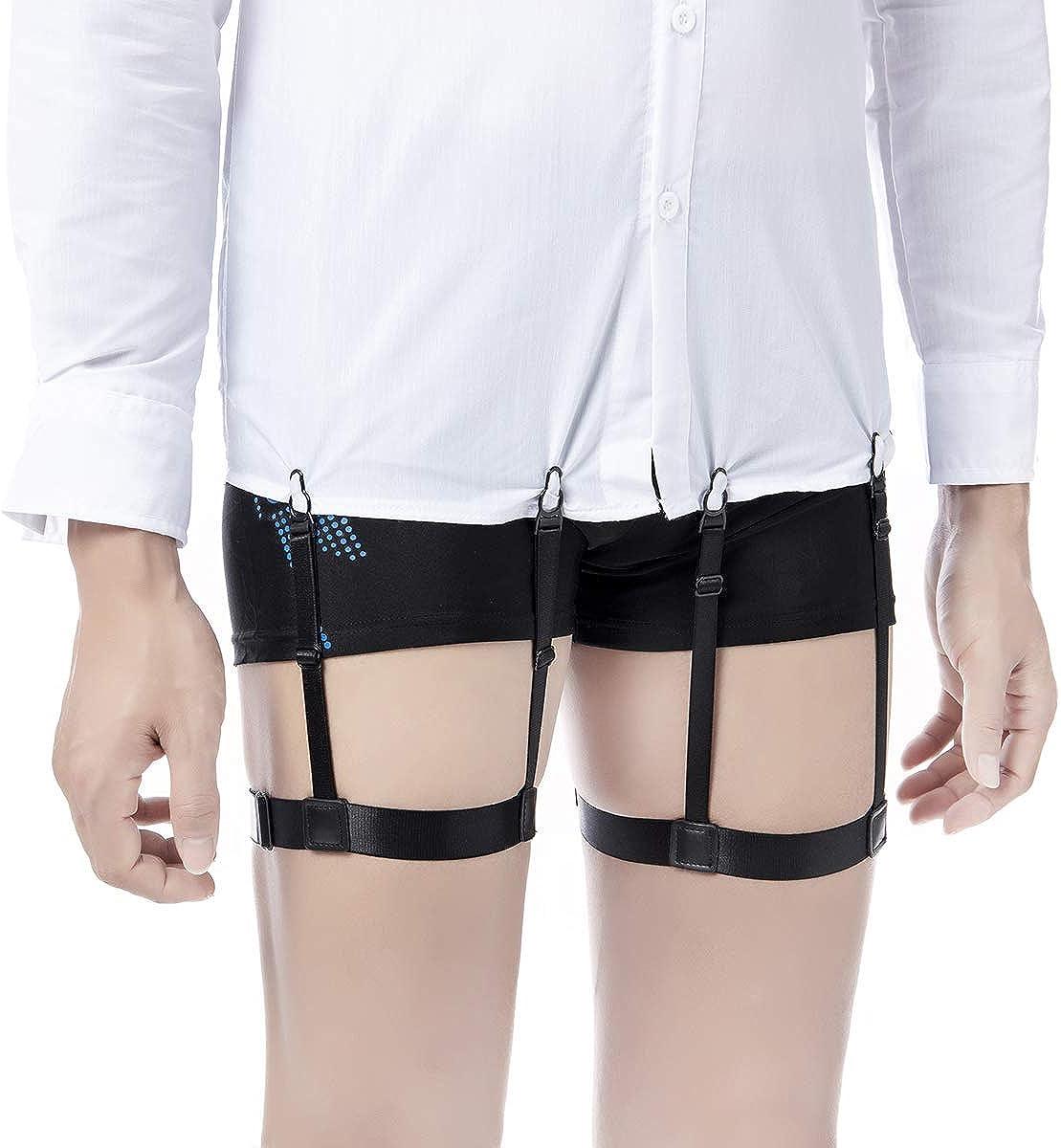Mens Shirt Stays Garters Suspenders Shirt Holder Straps Non-slip Locking Clamps Keep Shirt Tucked