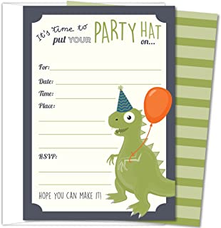 """Koko Paper Co Dinosaur Party Invitations, Fill-In Style T-Rex Design For Boys and Girls, with Envelopes, Set of 25, 4.25"""" x 6"""" Printed on Heavy 140lb Card Stock"""