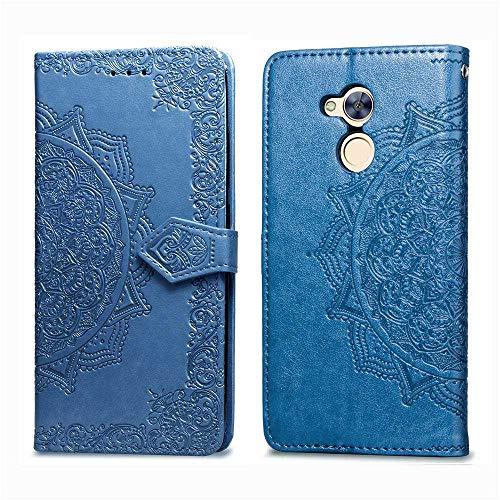 Bear Village Hülle für Huawei Honor 6A, PU Lederhülle Handyhülle für Huawei Honor 6A, Brieftasche Kratzfestes Magnet Handytasche mit Kartenfach, Blau