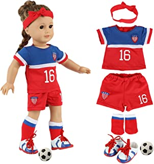 fundolls 18 Inch Doll Clothes and Accessories - Team USA 6 Piece Soccer Outfits Uniform, Includes Shirt, Shorts, Socks, He...