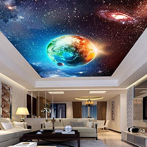 Relovsk behang 3D-behang kunstdruk aarde woonkamer plafond vliesbehang, vliesbehang, dik 200 x 140 cm.