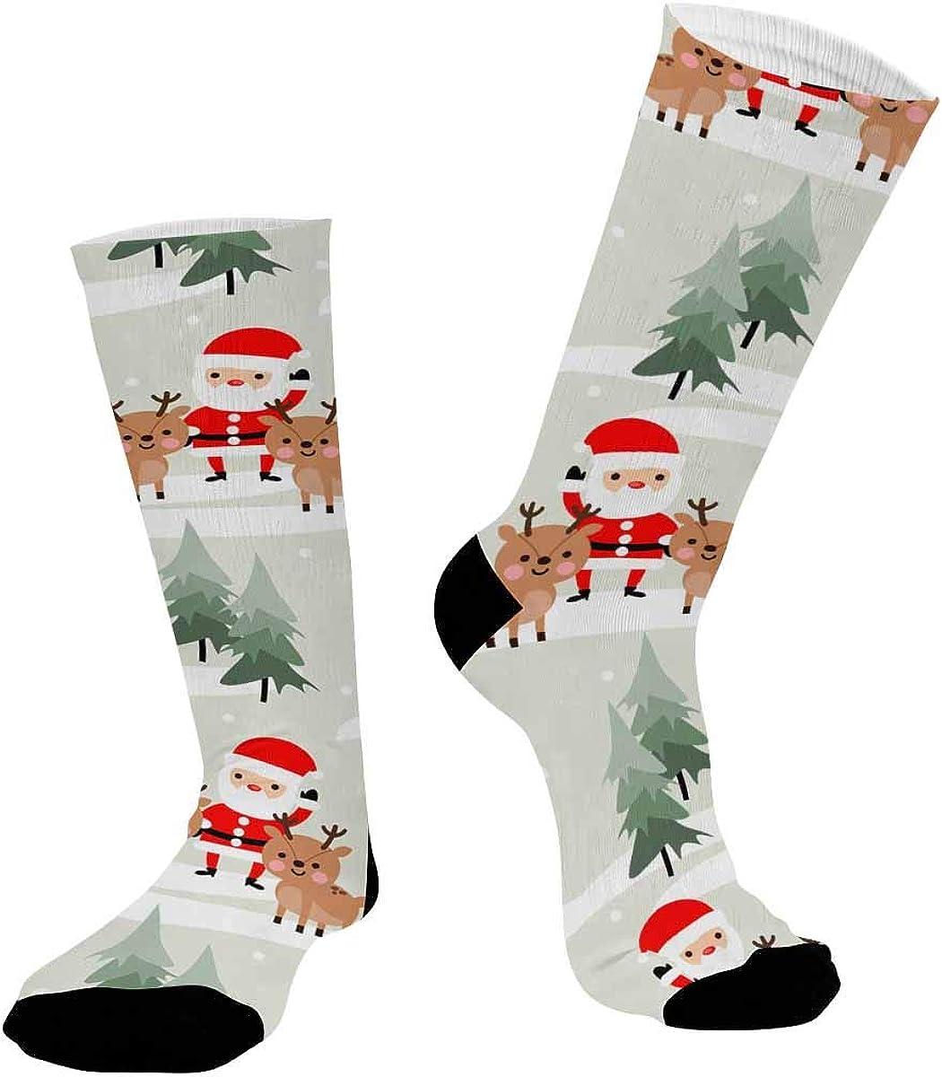 INTERESTPRINT Casual Sublimated Crew Socks Unisex Christmas Santa Claus and Reindeer