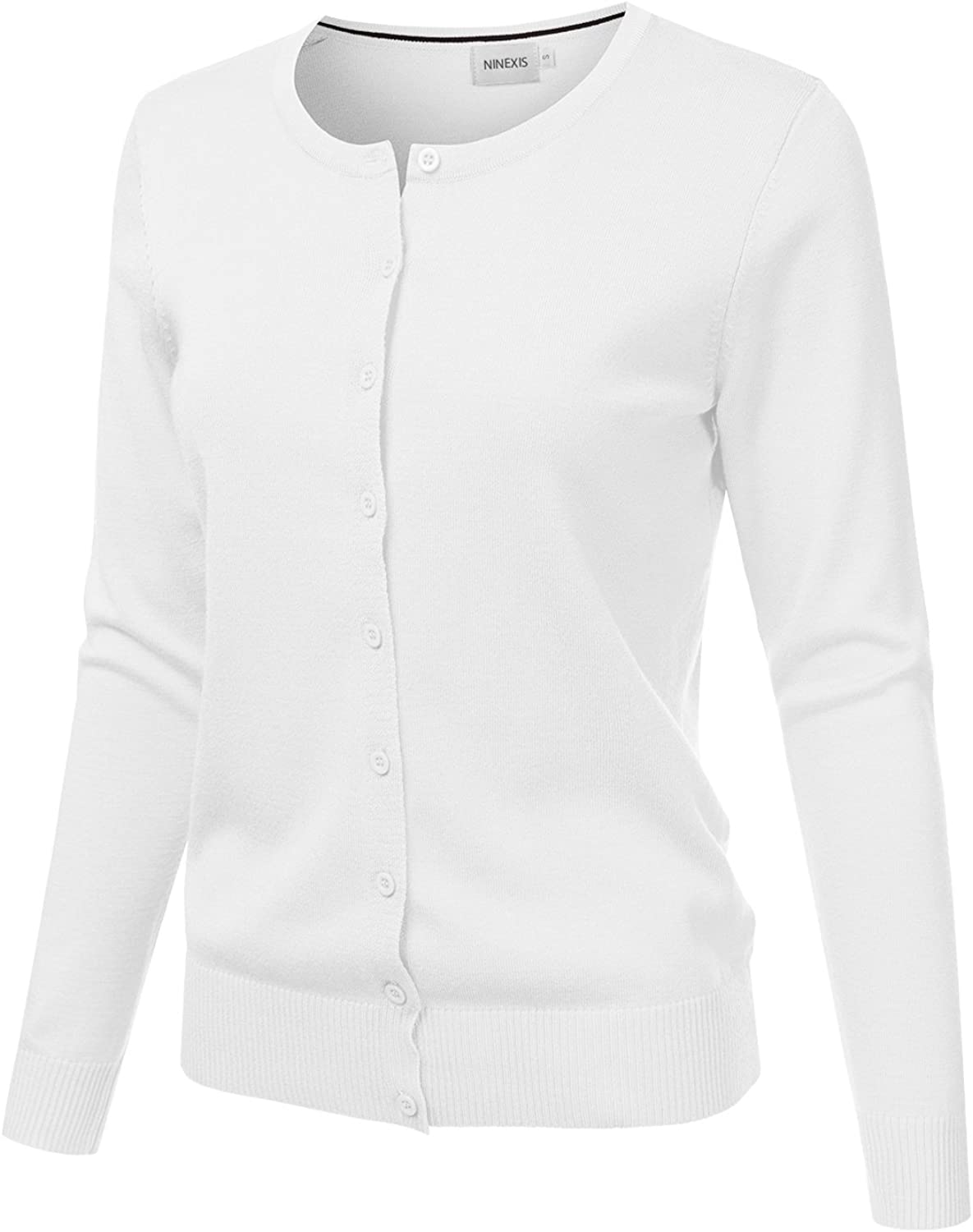 JJ Perfection Women's Button Down Soft Knit Long Sleeve Cardigan Sweater