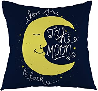 """oFloral I Love You to The Moon and Back Romantic Quote Throw Pillow Cover Square Cushion Case Home Decorative for Sofa Couch Car Bedroom Living Room 18"""" x 18"""" inch Black Yellow White"""