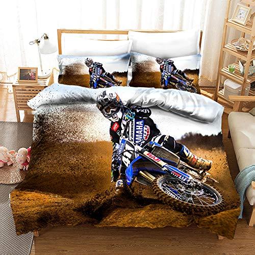 DOORWD Motocross Juego de Funda nórdica de la Ropa de Cama 140x200cm Microfibra 3 Piezas Juego de Funda Contiene 2 Fundas de Almohada 50x75 cm
