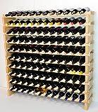 Modular Wine Rack Beechwood 48-144 Bottle Capacity 12 Bottles Across up to 12 Rows Newest Improved Model (120 Bottles - 10 Rows)