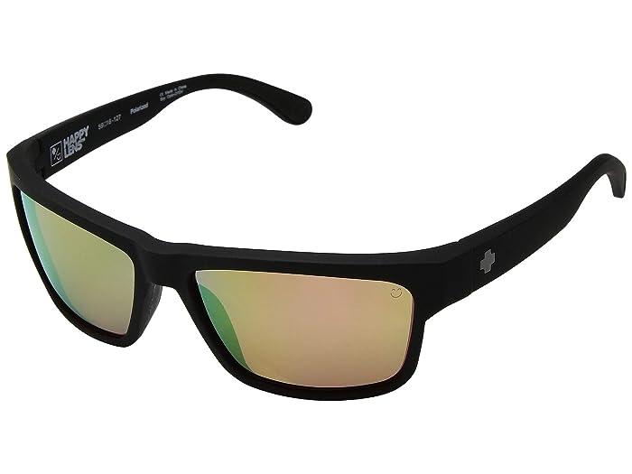 Spy Optic Frazier (Soft Matte Black/Happy Rose Polar/Green Gold Spectra Mirror) Sport Sunglasses
