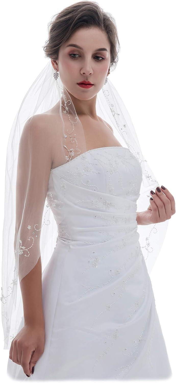 SAMKY 1T 1 Tier Floral Vine Crystal Beaded Motifs Bridal Wedding Veil