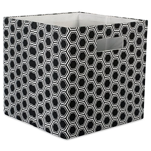 DII Hard Sided Collapsible Fabric Storage Container for Nursery, Offices, & Home Organization, (11x11x11) - Honeycomb Black
