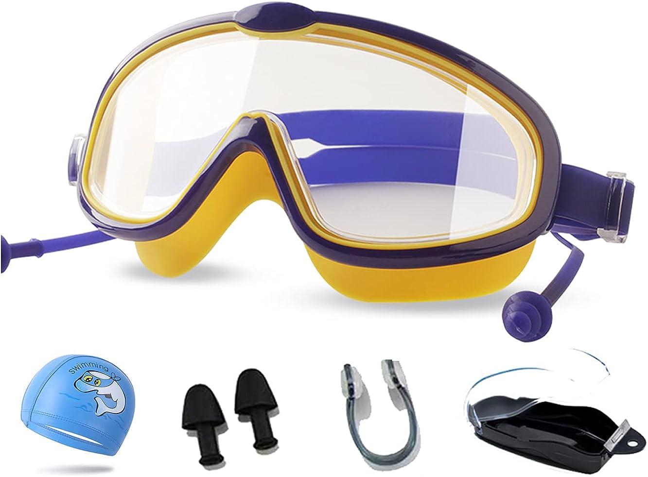 Ancaiqi Gafas de natación Anti-vaho protección UV Sin Fugas visión Clara Marco grande Gafas para Nadar para Hombres Mujeres