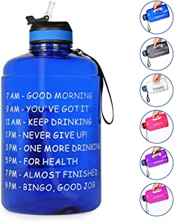 Opard Gallon Water Bottle with Time Marker Straw and Handle 128oz 1 Gallon Water Jug BPA Free Motivational Big Large Sports Water Bottle for Gym Fitness