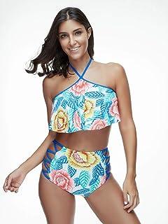 Goldt1 女性のための水着背中の開いた中空ネックラインのひもと花柄の装飾でフリルハイウエストツーピースの女性のためのセクシーなビキニの水着はひもでローカットしてプリント
