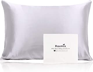 Best Ravmix 100% Pure Mulberry Silk Pillowcase Queen Size for Skin & Hair 21 Momme 600 Thread Count with Hidden Zipper, Both Sides Hypoallergenic Soft Breathable Silk Pillow Case, Silver Grey Review