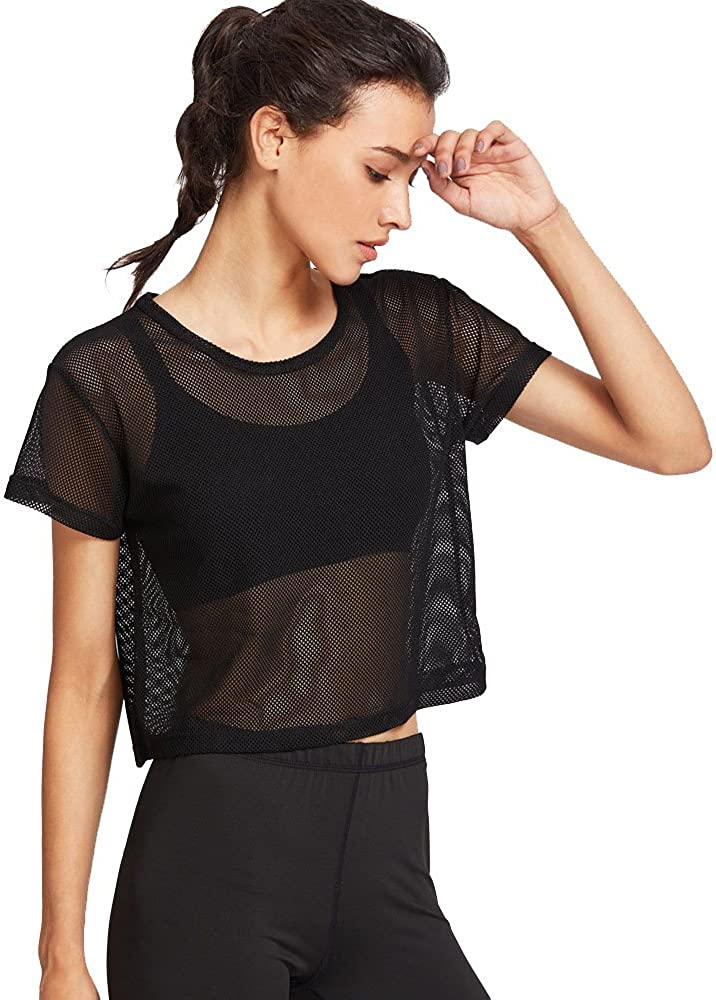 Womens Short Sleeve T-Shirt Sexy Sheer Pure Mesh See-Through Crewneck Solid Navel Crop Tops Tee Shirt Blouses
