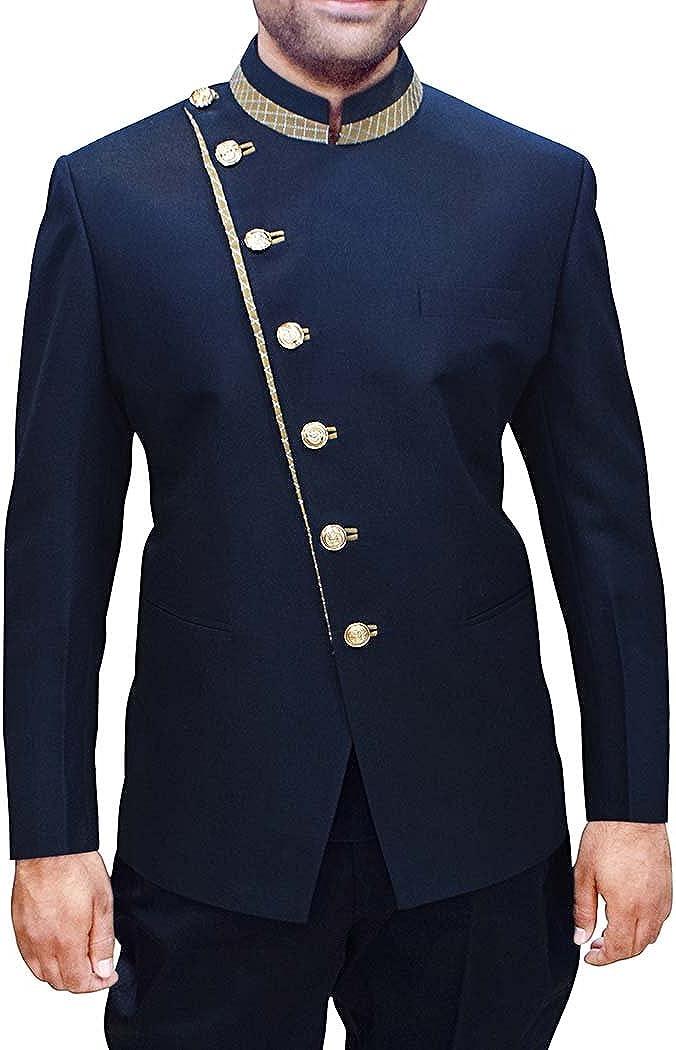 INMONARCH Mens Dark Navy Polyester 2 Pc Jodhpuri Suit Designer JO452
