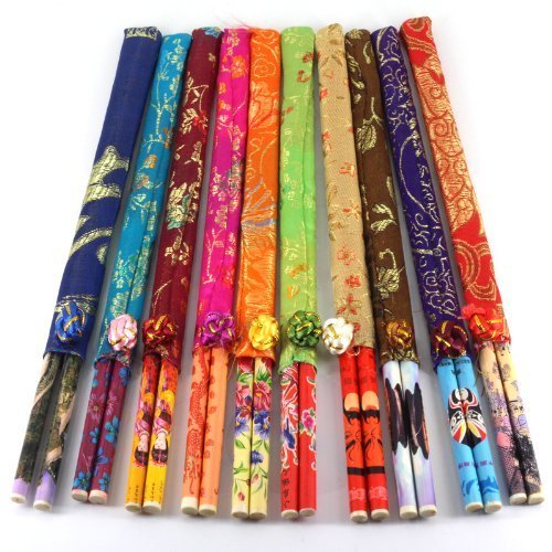 Ndier - Lote de 10 pares de palillos chinos de bambú, para...
