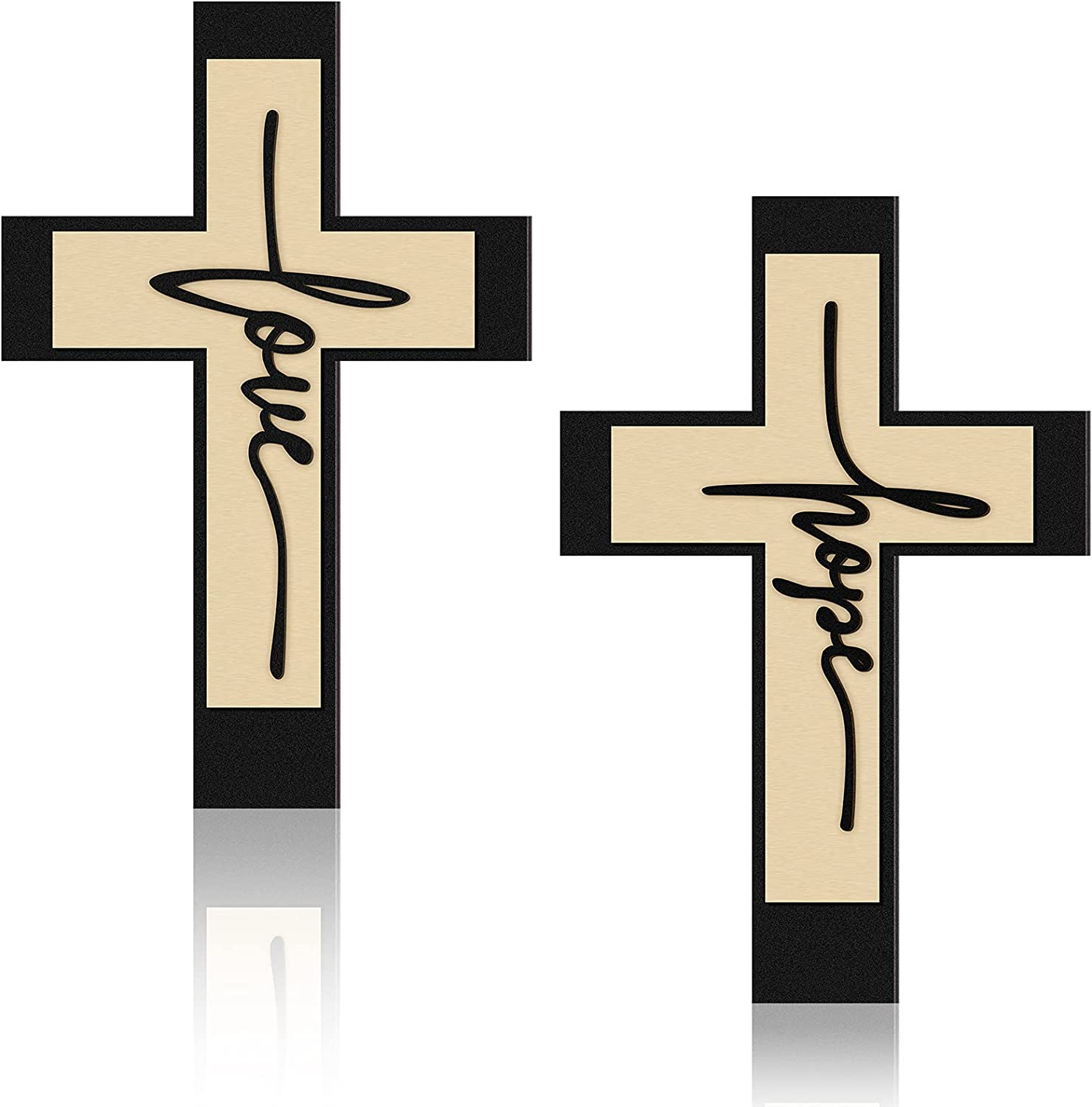 Jetec 2 Pieces Wooden Hanging Wall Cross Wall Cross Love Decor, Large Decorative Love and Home Wall Art Cross Wood Home Hanging Decor for Home Room Garden Yard Supplies, 16 x 10 Inch