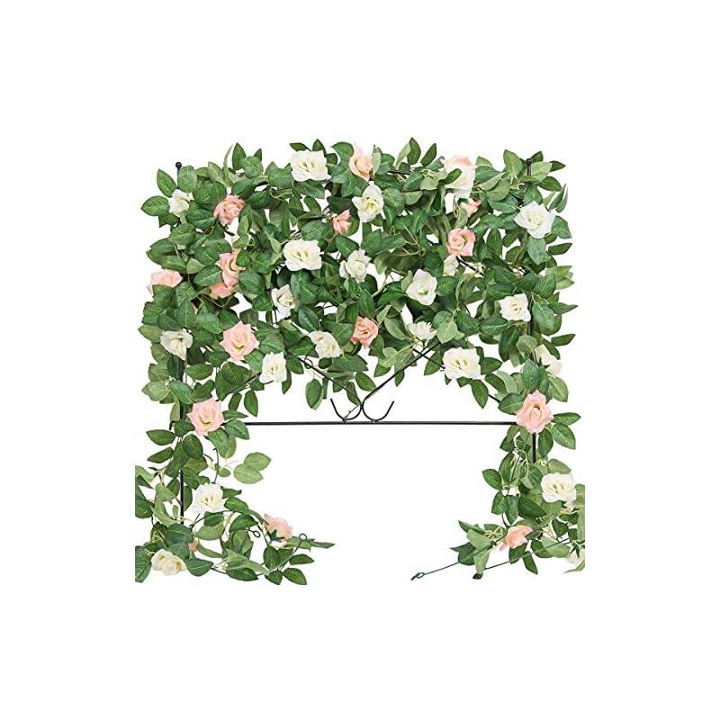 silk flower arrangements der rose 4 pack 32ft artificial rose vine fake flower garland hanging silk flowers for decoration wedding arch backdrop table party wall (white& pink)