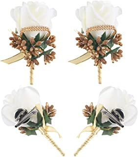 Wedding Boutonniere, HO2NLE 4PCS Handmade Artificial Silk White Rose Boutonniere for Groom Groomsman Bride Bridesmaid Corsage with Pin and Clip Prom Party Man Suit Decoration Floral Brooch