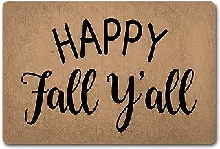 Welcome Door Mats Happy Fall Y'all Doormat Welcome Whalcum Fall Door Rugs Door Mats-Doormat Door Rugs Funny Door Mat (23.6 X 15.7 in) Non-Woven Fabric Top with a Anti-Slip Rubber Back Door Rugs