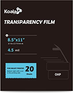 Koala OHP Film Overhead Projector Film 8.5x11 Inch Single Side Printing Film for Inkjet Printer