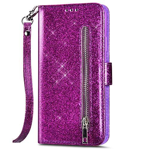 kompatibel mit Samsung Galaxy A41 Hülle Glitzer Bling Ledertasche,PU Leder Magnet Klapphülle Geldbörse Handyhülle mit Kartenfächer Standfunktion Flip Case Handy Tasche,Lila