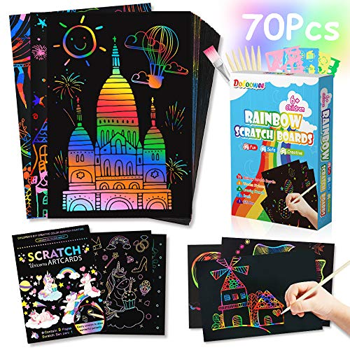 [Upgraded] Scratch Paper Art Set for Kids - 70 PCs Rainbow Magic Scratch Off Arts and Crafts Arts Supplies Kits for Girls Boys Birthday Party Christmas Easter Craft Gifts Best Gifts (Unicorn)