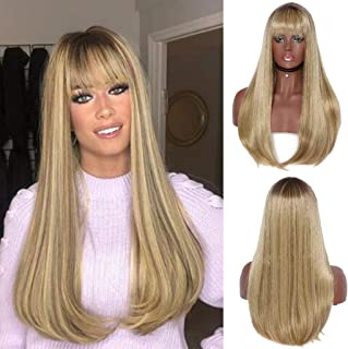 Straight Part Lace Frontal Wigs with Baby Hair Hight Temperature Synthetic Human Hair Feeling Wigs Gold Women Wigs (a)